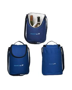 three images of royal blue wine or lunch bag showing front back and open view each with white logo