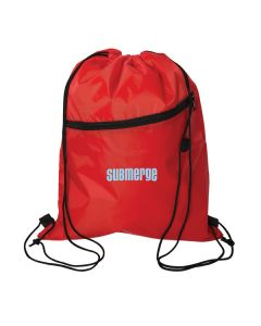 red insulated drawstring cooler with light blue logo