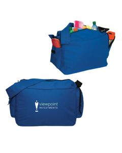two images of royal blue large cooler duffle one showing the front with a white logo and the second showing the back with the top unzipped and the contents showing