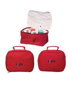 three images of red cooler bags two closed showing black and blue logo and one open to show contents within