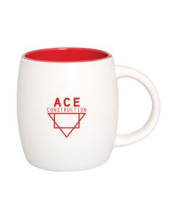591mL white and red ceramic barrel mug with red logo