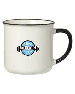 350mL white stoneware mug with black rim and handle and a blue and black logo