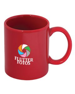 325mL red c handle mug with full colour logo