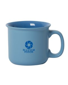 416mL light blue and blue stoneware mug with blue logo