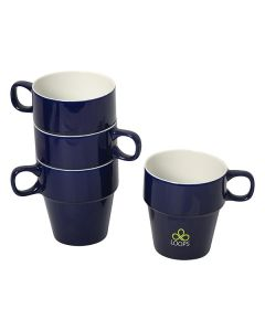 set of 4 cobalt blue and white stacking mugs with three items stacked and the other not stacked and showing a green and white logo