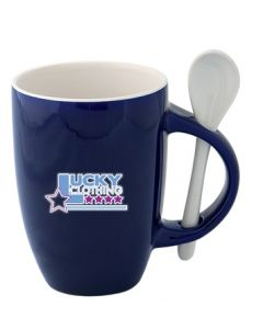 355mL cobalt and white mug and spoon set with full colour logo