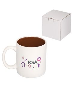 15oz white and brown C handle mug with full colour logo and a white gift box behind it