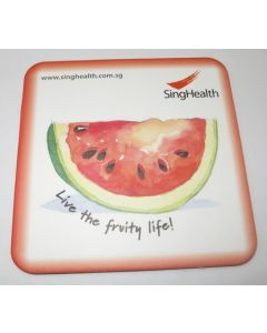 rounded square full colour card coaster with watermelon printed on it
