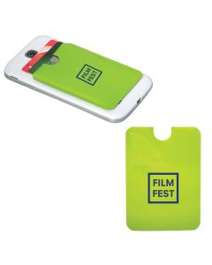 two images of lime green phone card holders one with a white logo and the other blank attached to a white phone with cards inside