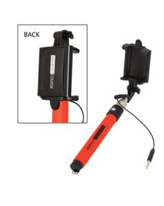 two images of red with black accents foldable selfie stick one with black logo and one showing a close up on the back view