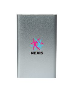A silver rectangle shaped UL certified 4000 mAh power bank with full colour logo