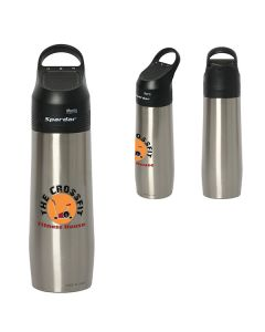 three images of 750mL silver with black accents water bottle two showing a full colour logo and one showing the back view where the logo can not be seen