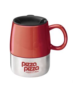 red mug with a black lid a silver bottom half and a red logo