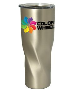 a silver metal 900mL travel tumbler with a twist shaped body a clear lid and a full colour logo