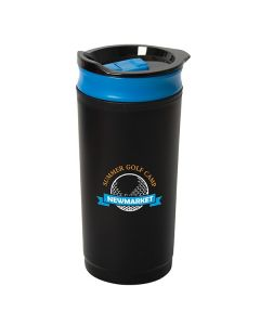 475mL black and blue travel coffee press with full colour logo