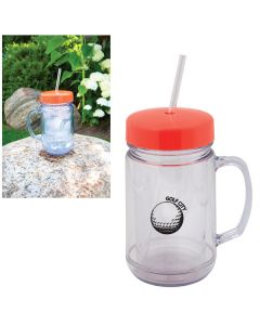 a clear mason jar shaped 500mL tumbler with an orange lid a clear straw a black logo and a lifestyle picture in beside it
