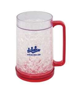 400mL red and clear frosty mug with a blue logo