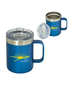 two images of royal blue with silver accents 350mL travel mugs one closed and one open both with a full colour logo