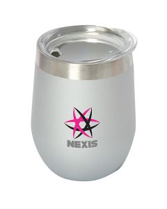 silver traveller mug with a silver top and a full colour logo