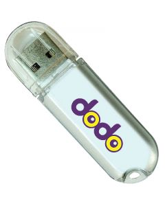 silver coloured plastic rounded USB with transparent cap and purple and yellow printed text