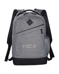 charcoal compu-backpack with white and black logo