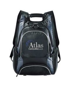 black compu-backpack with white and blue logo