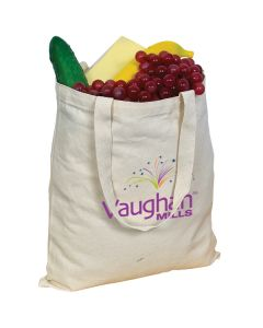 natural coloured grocery filled canvas tote with full colour logo