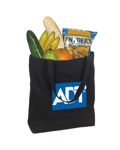 black large cotton tote with a white and blue logo and filled with groceries