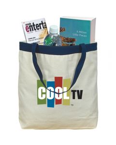 A natural cotton tote with navy accents and handles a full colour logo and filled with goods
