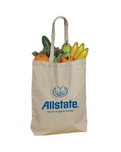 natural grocery filled cotton shopping tote with blue logo