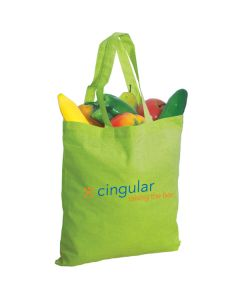 lime green grocery filled cotton tote with orange and blue logo