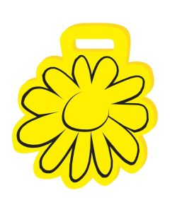 """A yellow coloured 15.5"""" flower shaped weatherproof foam cushion with a black flower outline on the front"""