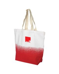 white cotton bag with red gradient and red logo