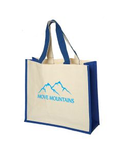 natural coloured laminated cotton tote with royal blue accents and light blue logo
