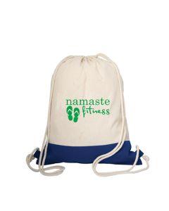 royal blue and natural coloured cotton drawstring bag with green logo