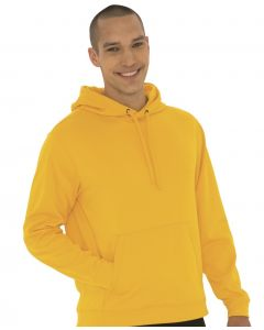 A gold coloured fleece hooded sweatshirt being worn by a man with one hand in his pocket