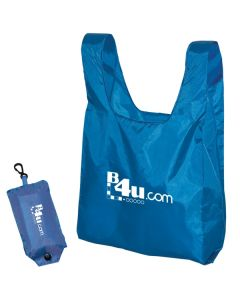 royal blue polyester tote with white logo next to image of it in folded position