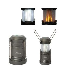 Two grey pop up lanterns with white logos one in the open position and one closed with two examples of lighting types shown above them