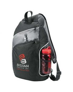 angled front view of black with grey accents compu-sling backpack with white and red logo