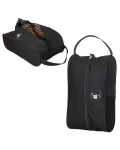 Two black shoe bags both with full colour logos one bag is zipped and one is partially unzipped showing the shoes inside