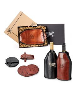 A gift set that includes, one black debossed 4piece coaster set and one brown debossed 4piece coaster set, two wine coolers, one brown and one black with screen printed logos on the front and wine inside. Behind these there is a 2pc gift box open to show