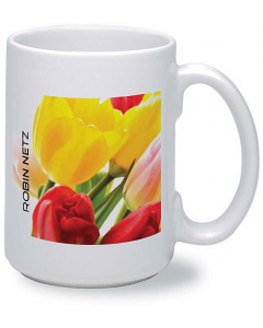 15oz white ceramic mug with digital flower print design