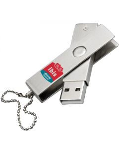 All metal USB swivel with red and blue print