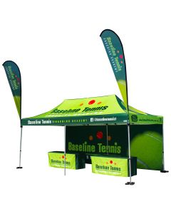 Green 600D 10x20ft polyester tent package with two table cloths full back wall and two tear drop flags