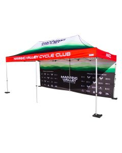 red green and white 600D polyester 10x20ft event tent with full back wall