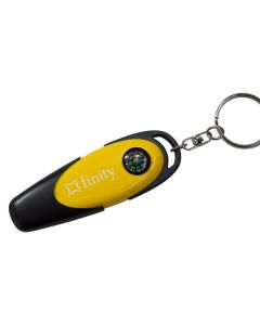 black and yellow USB and compass combination with white text print and key ring attachment