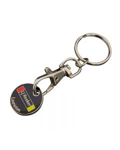 quarter shaped black yellow and red hard enamel shopping cart token with trigger clip and a split ring