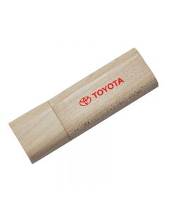 Eco wooden USB in the closed position with red print