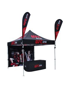 black 600D polyester 10x10ft custom tent package with full back wall 1 table cloth and 2 teardrop flags