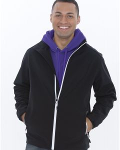 A black soft shell jacket with white zip accents being worn by a man with a purple hoodie underneath and both hands in his pockets